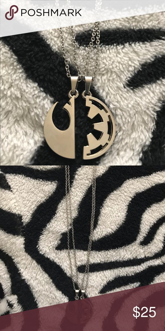 TWO STAR WARS NECKLACE • best friend necklace • one half is the galactic empire logo and the other half is the resistance logo  • cute for boyfr…