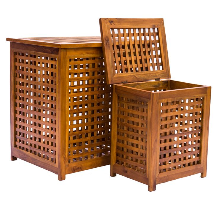 JAVA| These slatted wooden Laundry Baskets come in three handy sizes. Made from Teak with a hinged lid they are durable as well as functional.