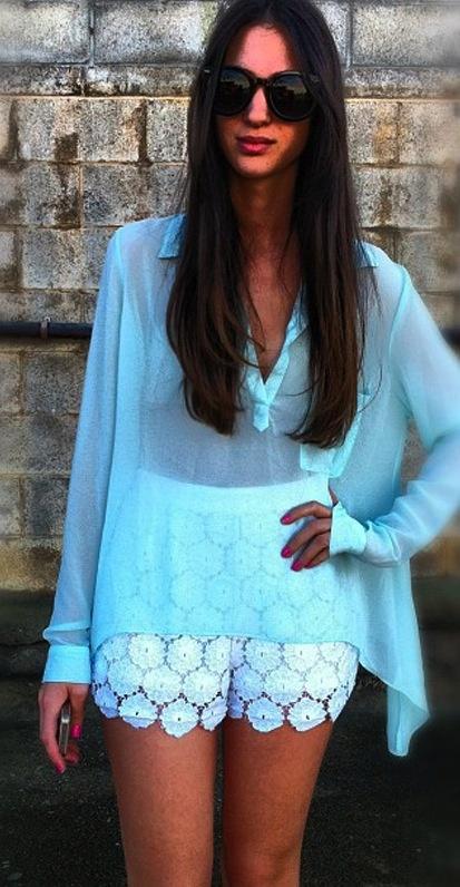love this <3: Baby Blue, Colors Combos, Dreams Closet, Summer Colour, Crochet Shorts, Sheer Tops, Mint Blouse, Mint Top, Lace Shorts