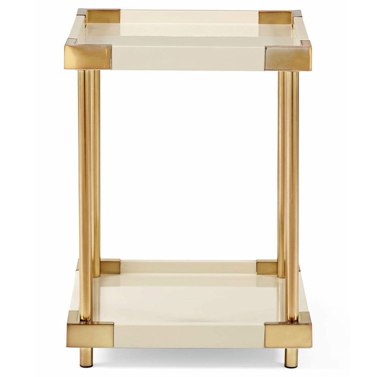 asics design Ivory Brass Patinated Hollywood Side Square End Lacquer Elena kayano Regency Table