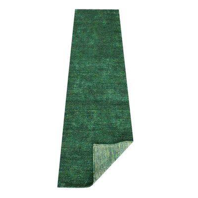 Rugsource Hand Knotted Modern Solid Dark Green Gabbeh Silk Carpet Indian Oriental Area Rug