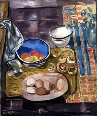 Frances Hodgkins Still Life with Eggs, Tomatoes and Mushrooms