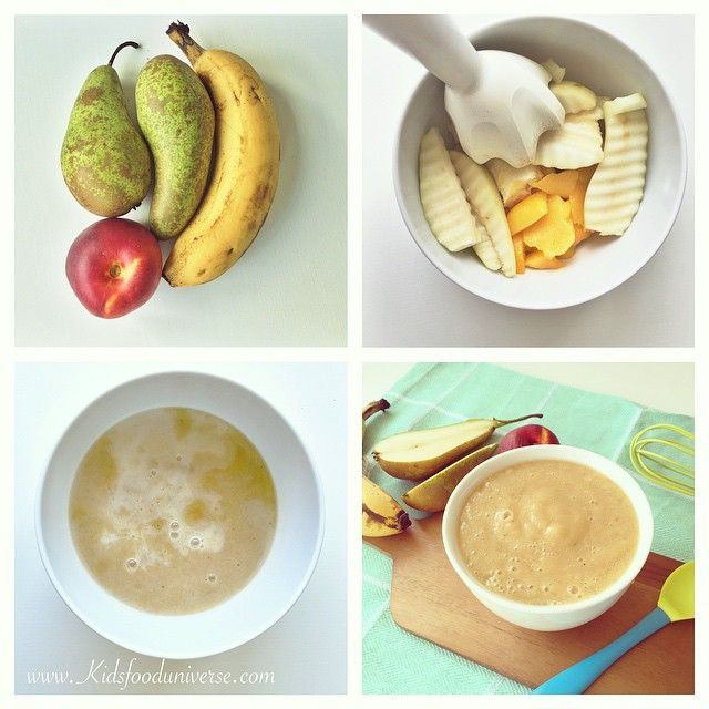 Pear, Banana & nectarine baby puree - fruit puree suitable from 6 months | baby food | Baby food recipes, Nectarine baby food, Baby first foods