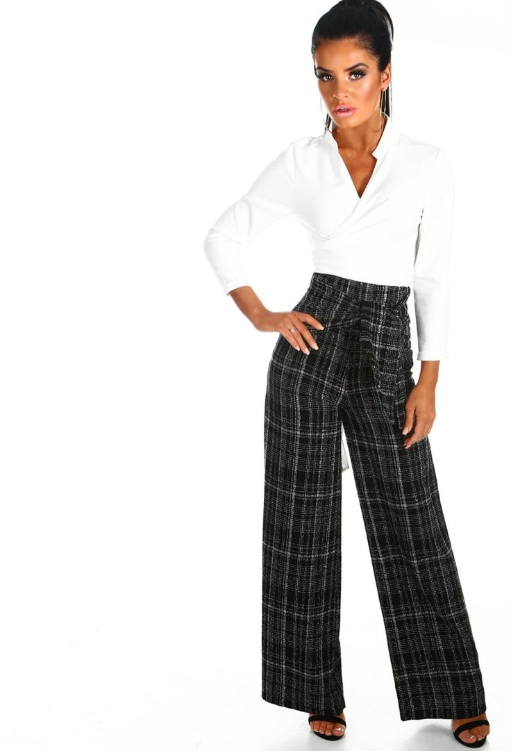 Boss All Day Black Check Wide Leg Trousers | Pink Boutique