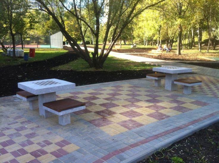 Шахматный стол из бетона для улицы ШCб-001