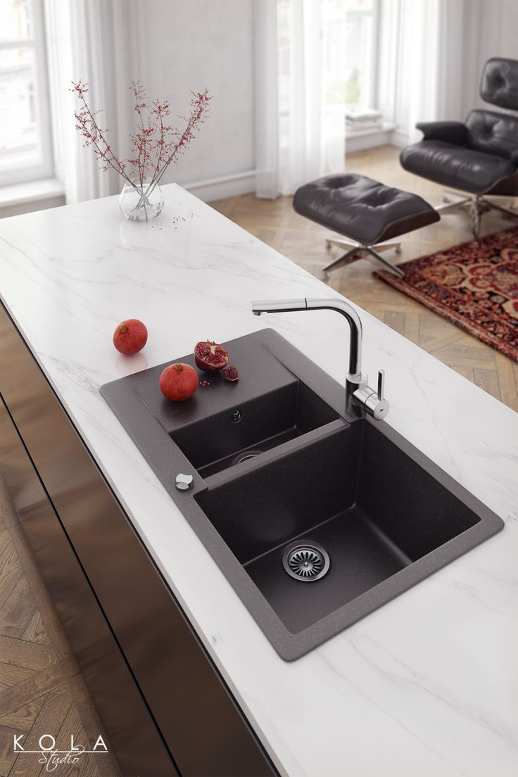 Kitchen chrome faucets and quartz sinks from new Teka collection. Interior design and visualizations: Kola Studio. Tags: kitchen appliances, house equipment, kitchen fixtures, marble worktop, white countertop, sink in island, dark sink, product visualization, product presentation, showroom, kitchen design, eclectic kitchen.