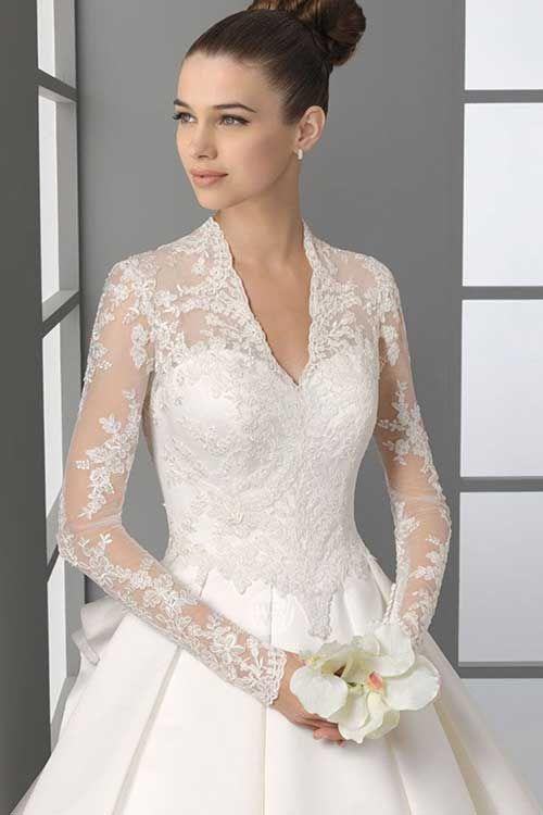 princess cut wedding dress with long sleeves - very fairytaleish. I ...