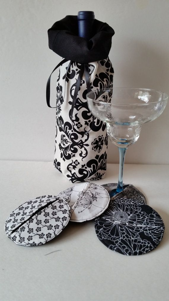 wine glass slippers, wine bags,  coasters, housewares. handmade,hostess gift sets, bride and groom, July 4th, house warming, memorial day