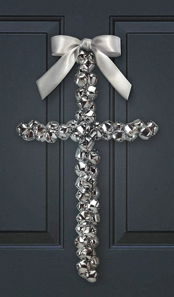 Decorative Silver Jingle Bell Cross