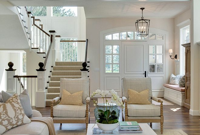 """Family Home Interior IdeasThe main floor paint color is """"Benjamin Moore Edgecomb Gray HC-173""""."""