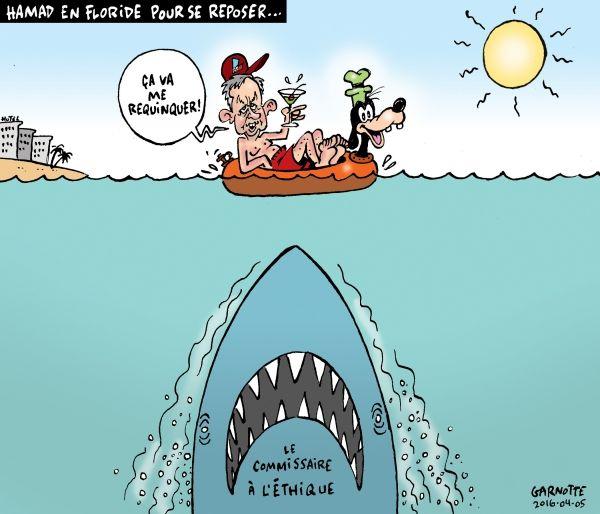 Les caricatures de Garnotte: Hamad en Floride pour se reposer...