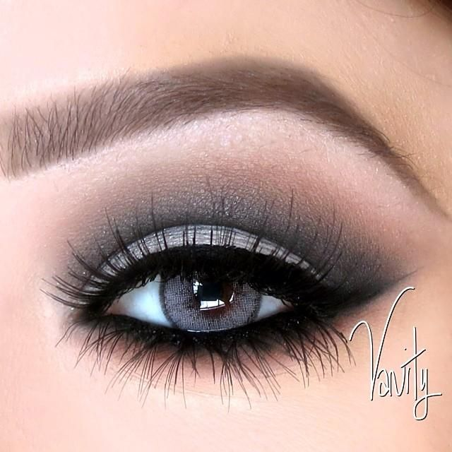 Grey and black dramatic #eyes #eye #makeup #eyeshadow #smokey #bold