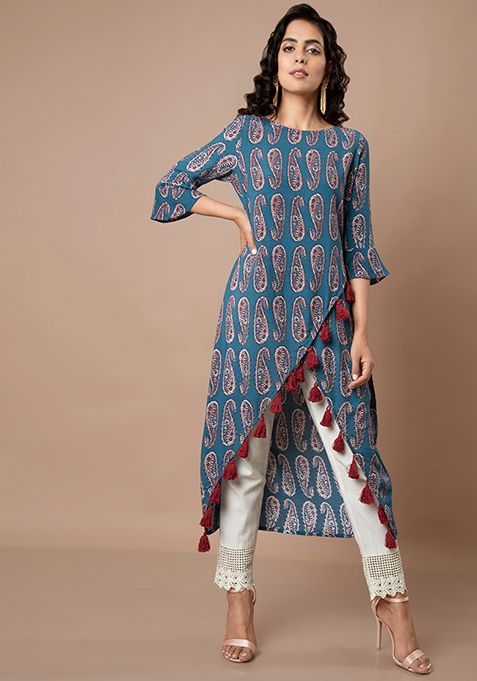 e466e7921 Buy Women Blue Paisley Overlap Tassel Tunic - High Low Tunics - Indya