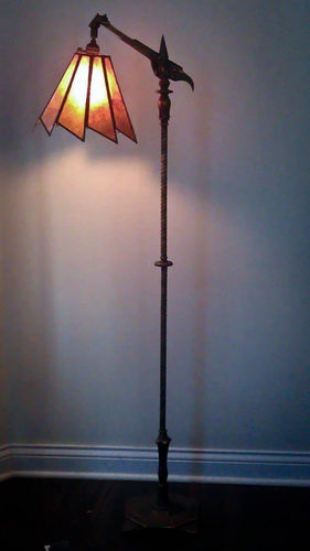 Unique 1920u0027s Art Deco Floor Lamp With Mica Sawtooth Shade | EBay