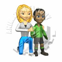 Soccer Coach with Soccer Player Animated Clipart