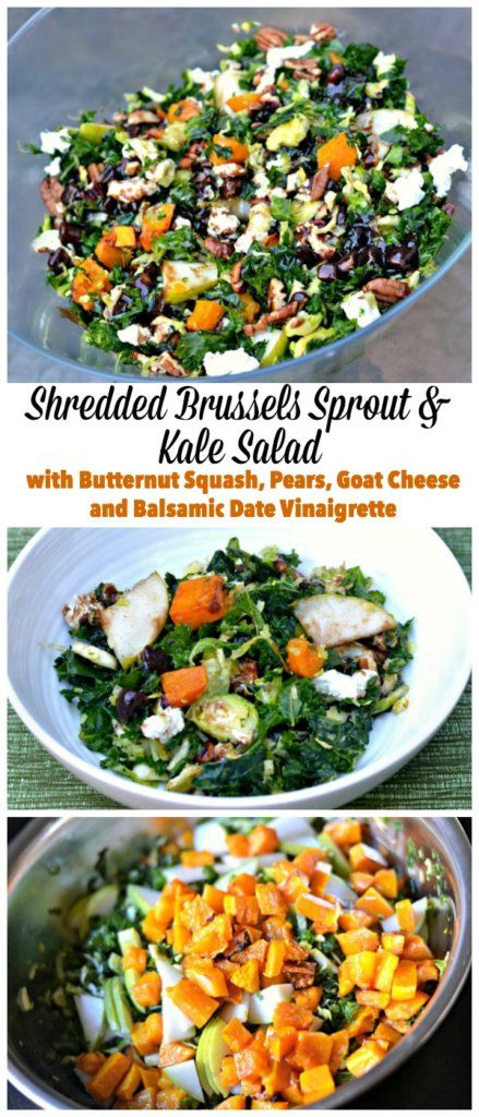 Brussles Sprout and Kale Salad with Balamic Date Vinaigrette