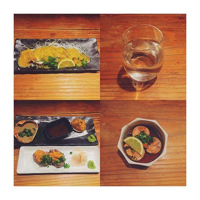昨日初めて行った#セリ壱 美味かった #獺祭 初めて飲んだけど飲みやすいなー  菅おしゃれやなー  #初カツオ #あん肝 #ウニ #肉 #蟹味噌 #