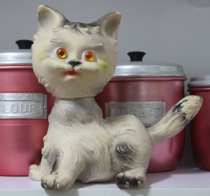 Vintage 1960s  Rubber Toy - Pussy Cat by VintageCollateral on Etsy
