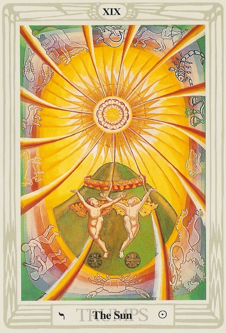 XIX.The Sun:  Thoth Tarot, painted by Lady Frieda Harris according to instructions from Aleister Crowley.
