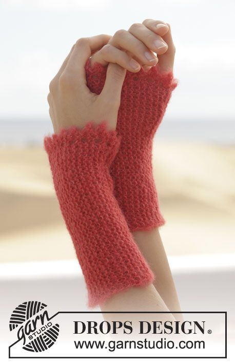 "Knitted DROPS wrist warmers in garter st with picot edge in ""Alpaca Silk"". ~ DROPS Design"