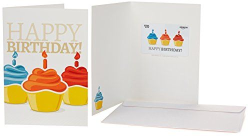 Amazon.com $20 Gift Card in a Greeting Card (Birthday Cupcake Design)