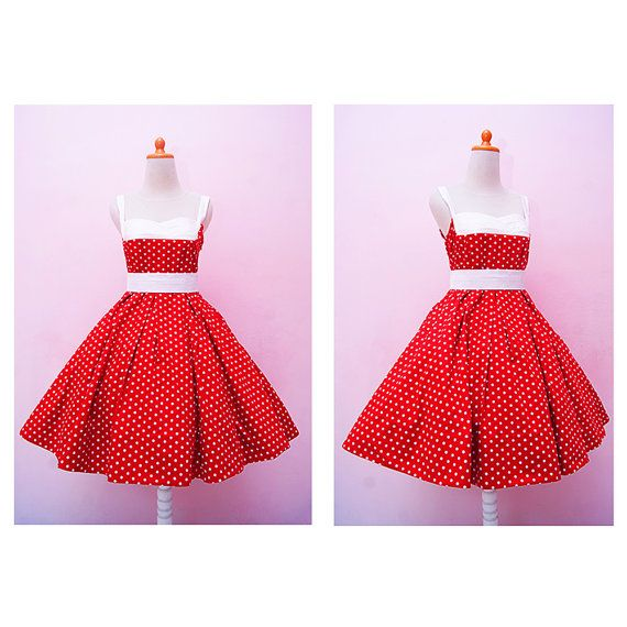 Vintage Red Polkadot Halter Swing Rockabilly by SenoritaHandmade  Perfect for you bright Red christmas day!