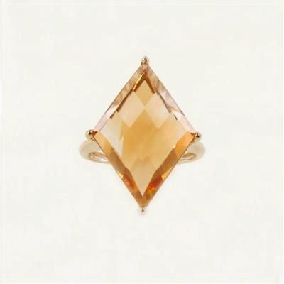 14K Yellow Gold Citrine Diamond-Shaped Ring