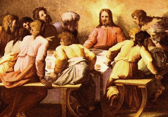 Рафаэль Санти Тайная Вечеря  1518-1519 Фреска Дворец Папы Римского, Лоджии Рафаэля, Ватикан