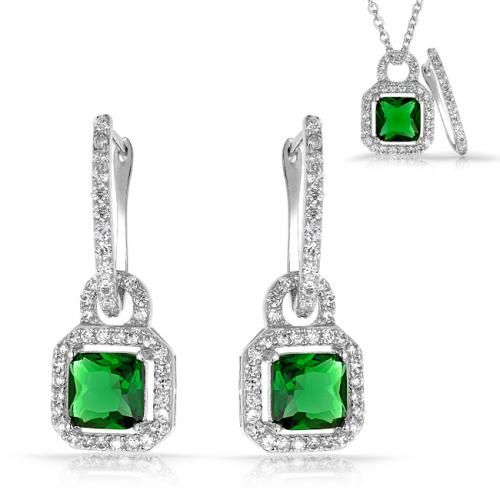 Removable Charm Emerald Color Square CZ 3 in 1 Leverback Earrings