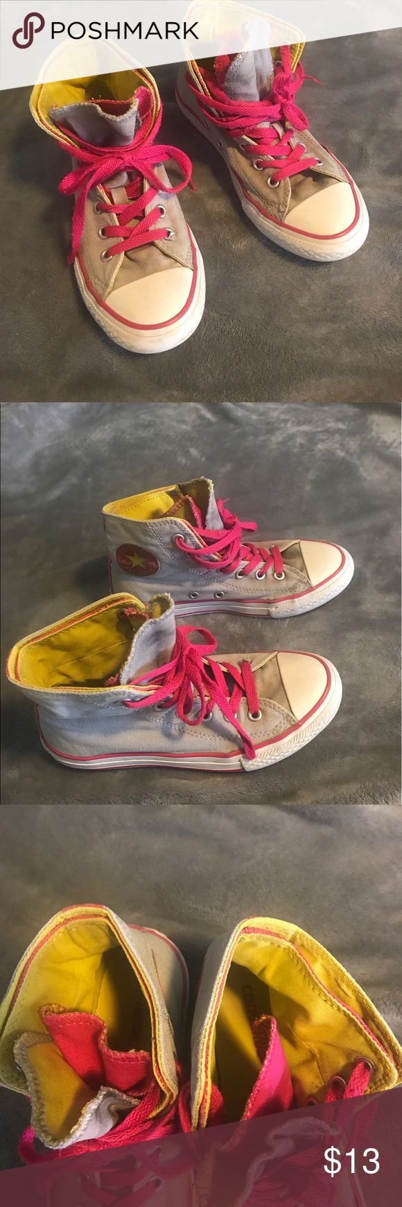 HUGE SALE Converse kids size 2 HUGE SALE! Closet clean out. Price is lowered for quick sale, FIRM SALE ENDS TONIGHT!  Converse high top kids size 2. Pink, yellow and gray. Good condition from smoke free home (see pictures). Lots of life left. Converse Shoes Sneakers
