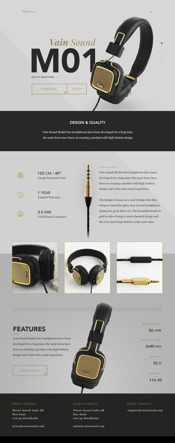 Vain Sound Model One Product Page https://dribbble.com/shots/1626731-Vain-Sound-Model-One-Product-Page