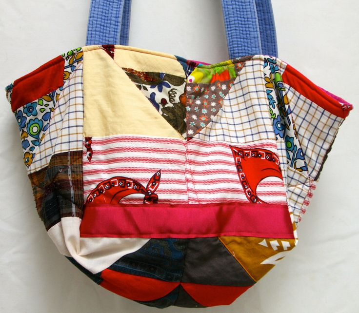 Large Tote Bag made from Granny's Un Finished Quilt (UFQ) by poppypeach on Etsy