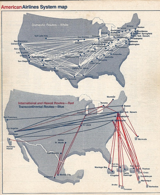 American Airlines Route Map. June 1977. Historical Map.
