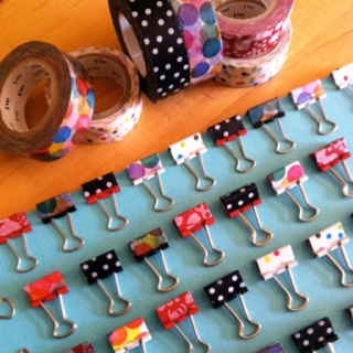 Washi tape and mini binder clips