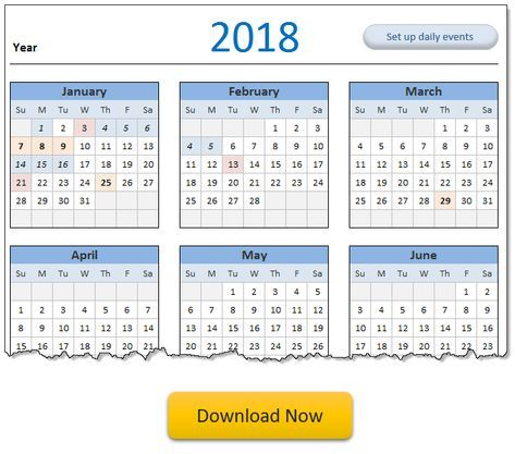 Calendar Daily Planner Excel Templates Free Downloads