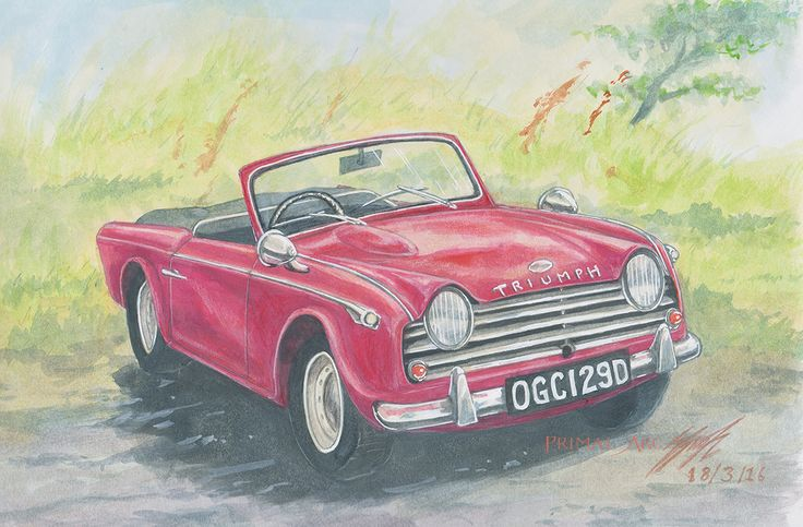 'Triumph TR4A', watercolour.  www.primalarc.com