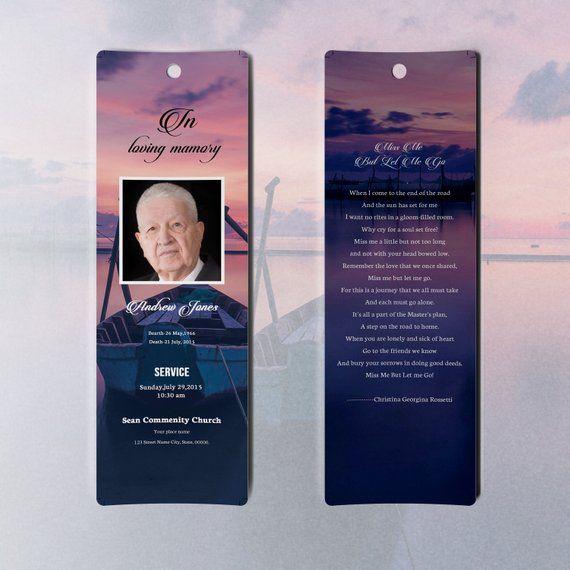 Funeral Bookmark Template Memorial Bookmark Microsoft Etsy Funeral Program Template Bookmark Template Word Template