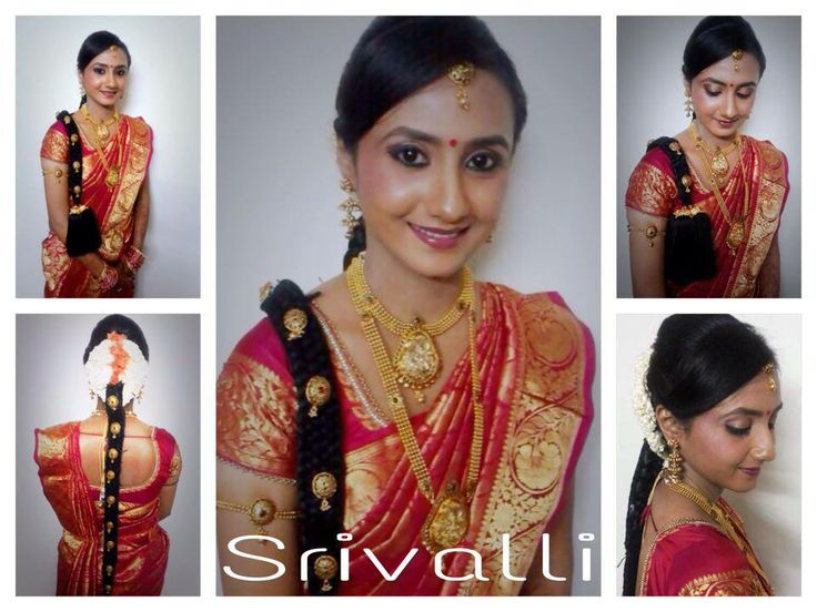 Traditional South Indian bride wearing bridal hair, saree and jewellery. Engagement look. Makeup by Swank Studio. Find us at https://www.facebook.com/SwankStudioBangalore