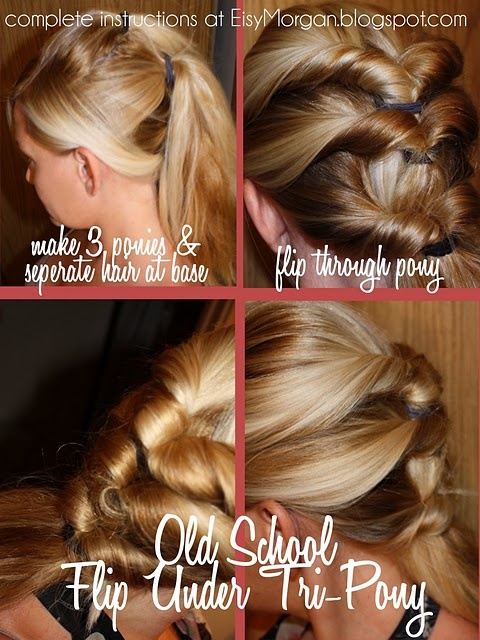triple flip-through ponytails-  I don't think my hair is thick enough to make this look great from the back. It was easy though and looked good from the front with a messy side part.