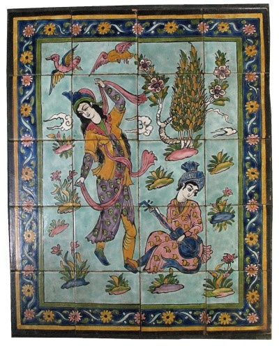 figurative persian tile