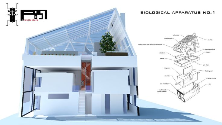 BIOLOGICAL APPARATUS NO.1 -Biodiversity is the degree of variation of life forms within a given species, ecosystem, biome, or an entire planet. Next to our role as humans of safeguarding, monitoring and/or managing a healthy biodiversity we should have a more profound relationship with nature which is not only based on mimicry. -Project by p-851 architecture