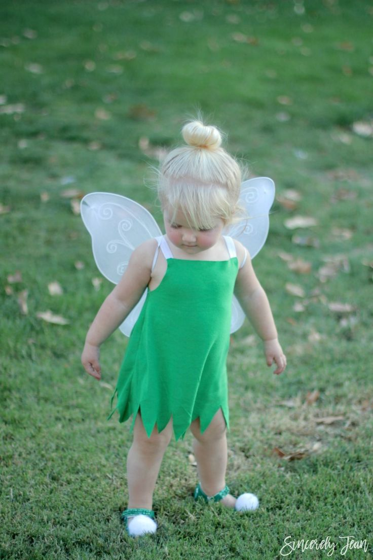 Halloween Costume - DIY Toddler Tinker Bell Costume and Hair Tutorial - Simple and cute tutorial on how to make a toddler Tinker Bell costume and tips for doing the hair! Perfect Halloween costume for toddlers! | www.sincerelyjean.com