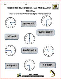 Time Worksheets - O'clock, Half and Quarter Past & To Sheet 1A
