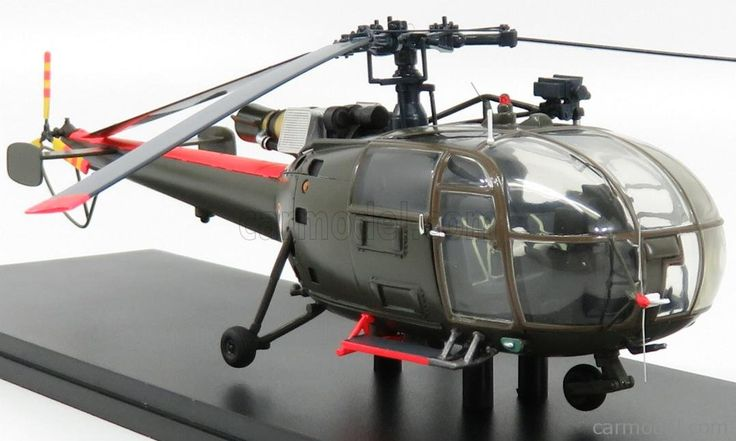 PERFEX PE710 Scale 1/43  SUD AVIATION ALOUETTE III SA316 HELICOPTER 1962 MILITARY GREEN RED