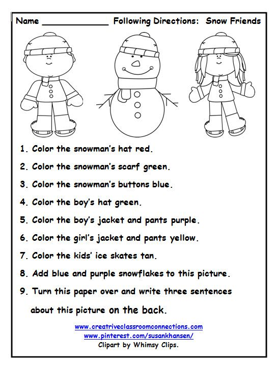 This free worksheet allows students to follow directions with color words and names of winter clothing. More free printables at pinterest.com/susankhansen/ and www.creativeclassroomconnectins.com.
