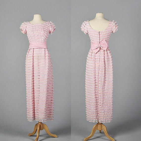 Medium 1960s Lace Pencil Dress Pink and White Lace Wedding Dress Short Sleeves Maxi Length Pencil Skirt Party Outfit 60s Vintage