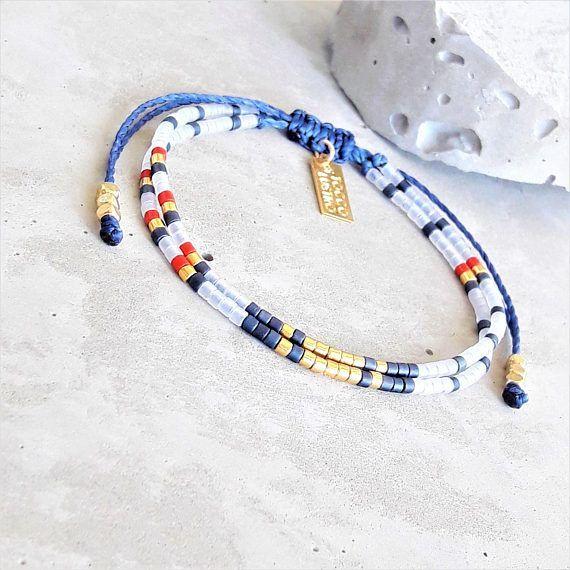 Verano náutico con cuentas pulsera Seed Bead Bracelet #beadedjewelry