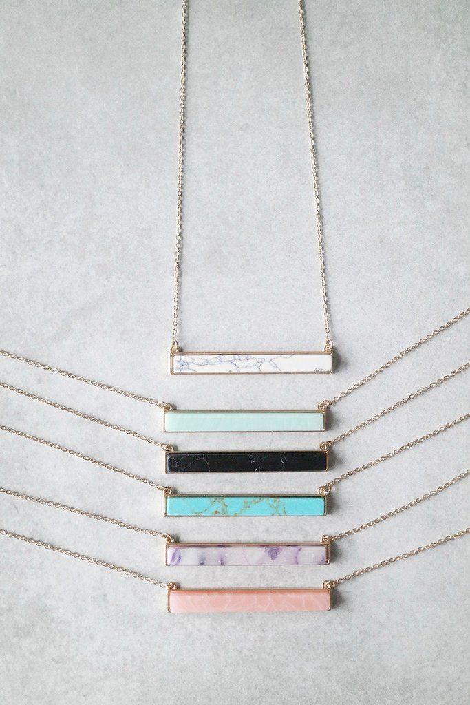 Stone Bar Necklace - Elisabeth Ashlie.