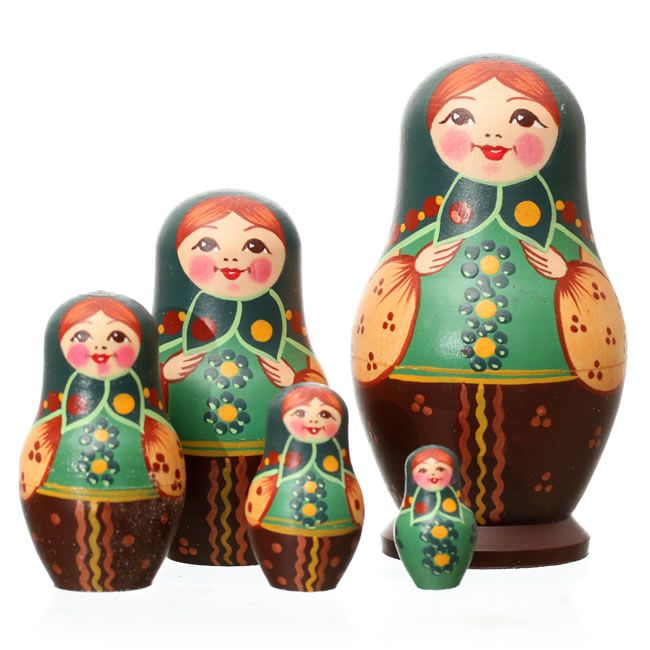 Russian Dolls - Traditional Dolls - Russian Doll, 5 Piece, 10cm by Tania Andreyev - Artyfax