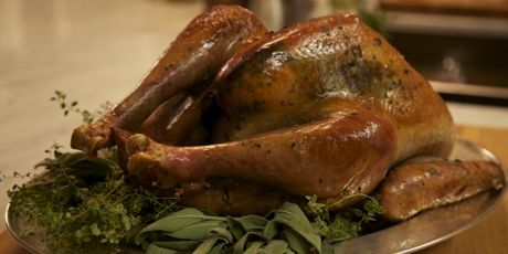 Herb-Roasted Turkey with Roasted Onion Turkey Gravy